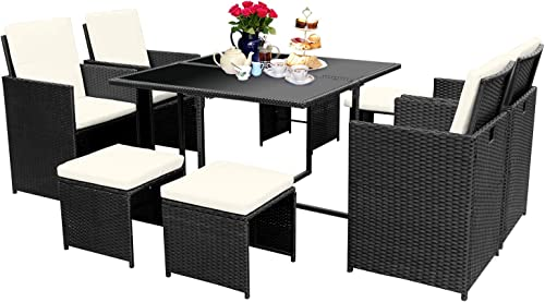 Viewee 9 Pieces Wicker Patio Dining Set