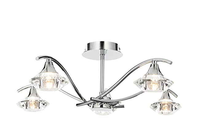 separation shoes 3c01f 0422e Modern 5 Light Chrome Semi Flush Ceiling Light Fitting with Crystal Glass  Shades