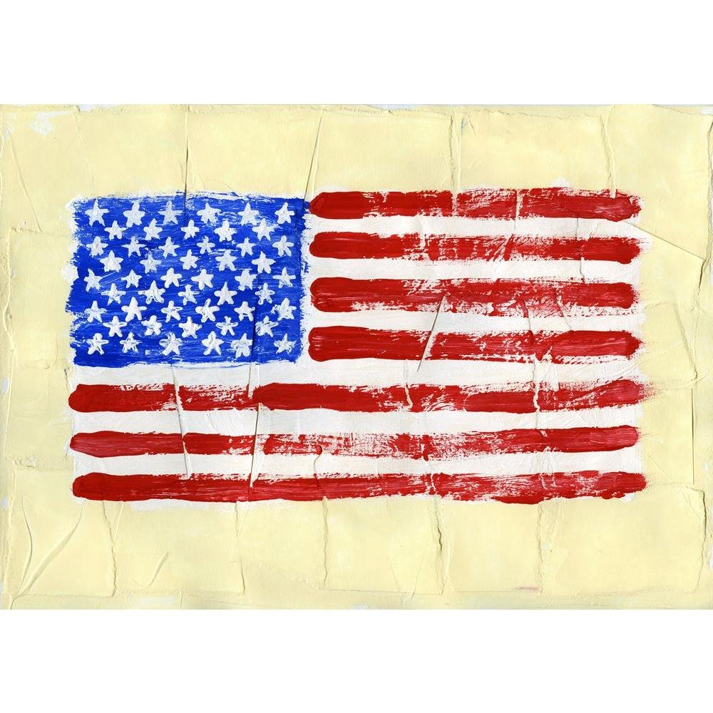 ArtzFolio United States of America Flag Canvas Painting 1inch Wood Stretching 16.9 x 12inch