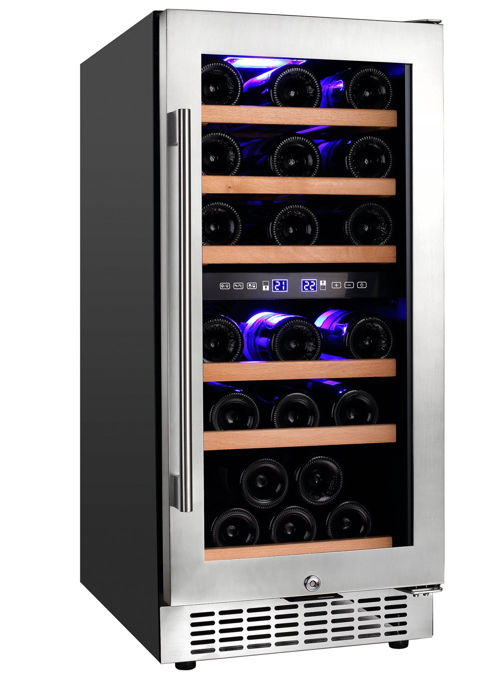 Aobosi Wine Cooler Refrigerator with 30 Bottles Dual Zones,Classy Look, Stainless Steel & Reversible Glass Door,and LED Display | Thermostatic Wine Refrigerator for Red and White Wine, Champagne