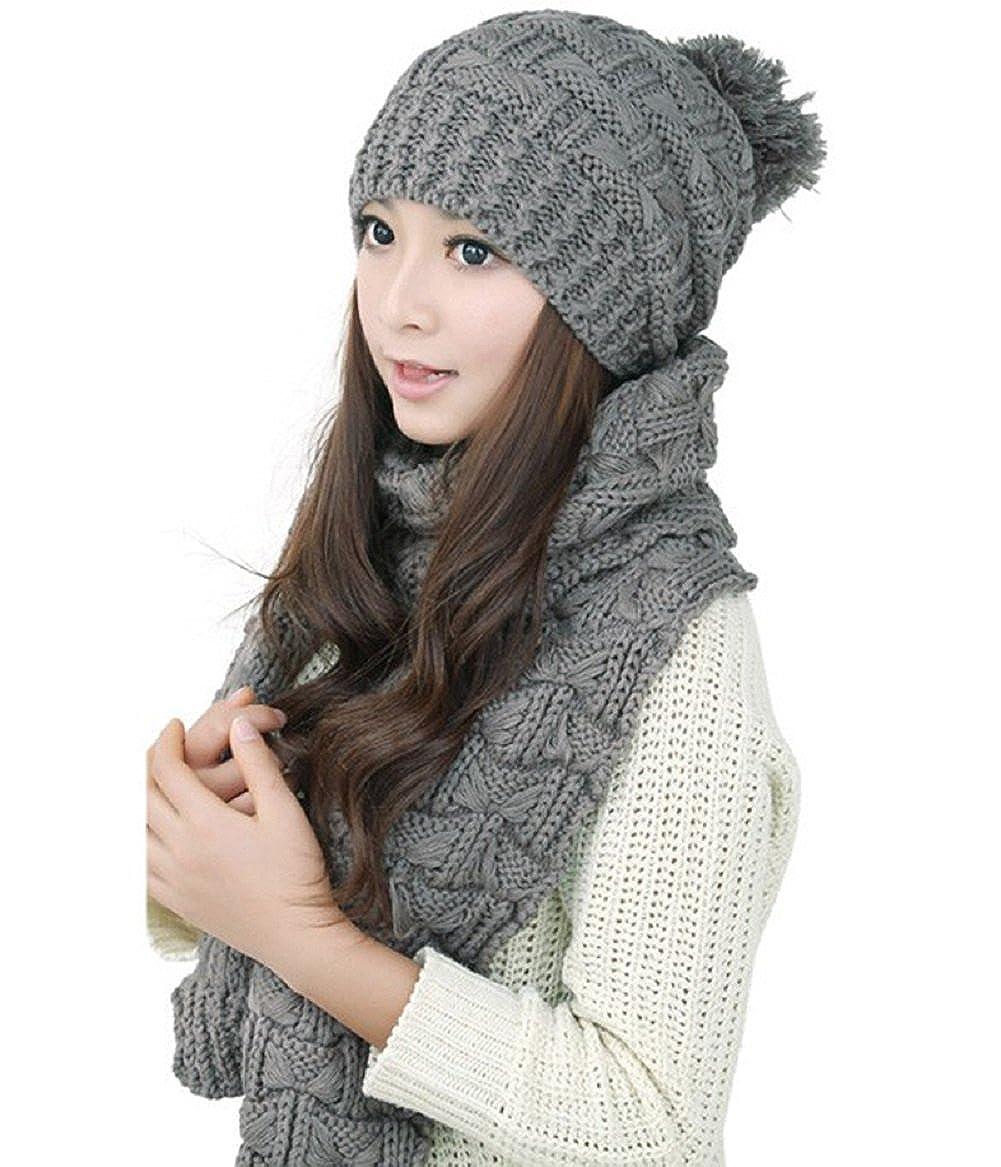 Scarf Hat Set, Women Girls Knitted Fashion Winter Warm Wool scarf With Attached Hat Women Girls Knitted Fashion Winter Warm Wool scarf With Attached Hat (Black)