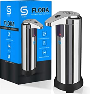 Flora Soap Dispenser, Touchless Automatic Soap Dispenser, Infrared Motion Sensor Stainless Steel Dish Liquid Hands-Free Auto Hand Soap Dispenser, Upgraded Waterproof Base [Newest Version]