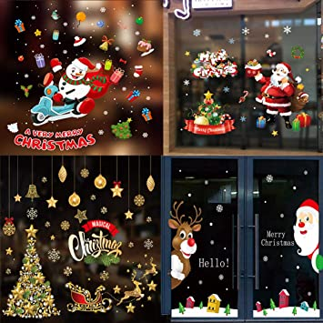 HL-045 Holiday Home Decors Decal for Xmas Party FEENM Christmas Decorations Window Sticker Clings