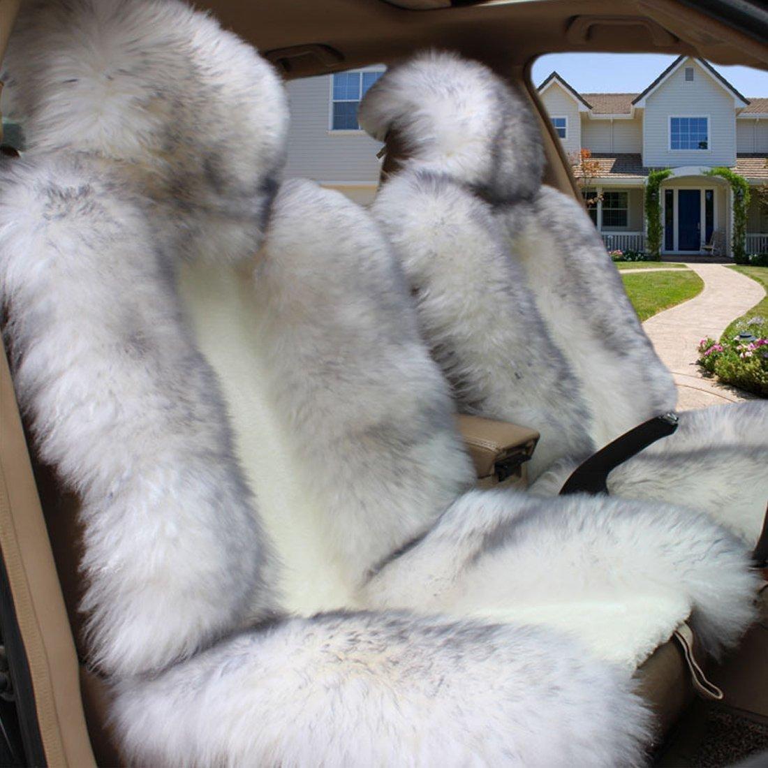 (ピーキー)Peigee カーシートカバー 車アクセサリー シートクッション ウール ムートン 普通車 2枚セット B01EMNDUSY ホワイト ホワイト
