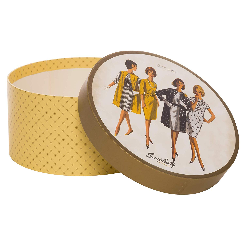 7.25 W x 7.25 L x 3.75 H Simplicity Vintage Fashion 1960s Round Sewing Storage Box