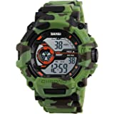 Aposon Men's Digital Electronic Waterproof LED Sport Watch Casual Military Multifunction 12H/24H Time Back Light with Simple Design 164FT 50M Water Resistant Calendar Month Date Day Camouflage Green