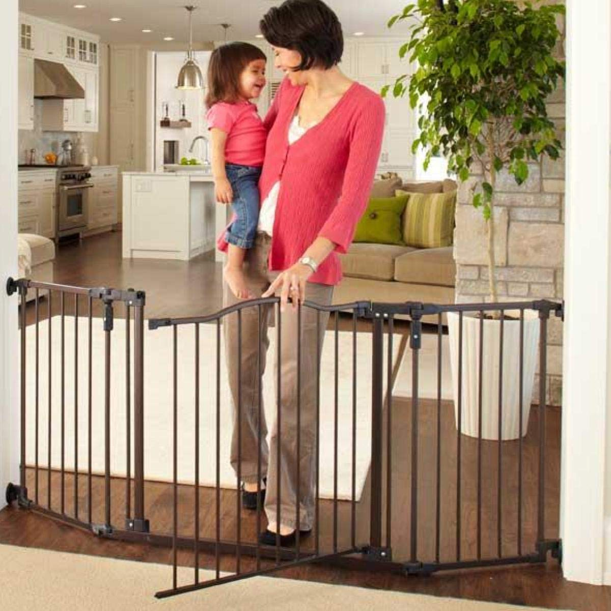North States 72'' Wide Deluxe Décor Baby Gate: Provides safety in extra-wide spaces with added one-hand functionality. Hardware mount. Fits 38.3''-72'' wide (30'' tall, Bronze) by North States