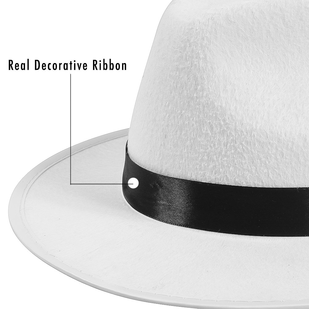 Mobster Costume Hats by Funny Party Hats White Felt Fedora Gangster Hat