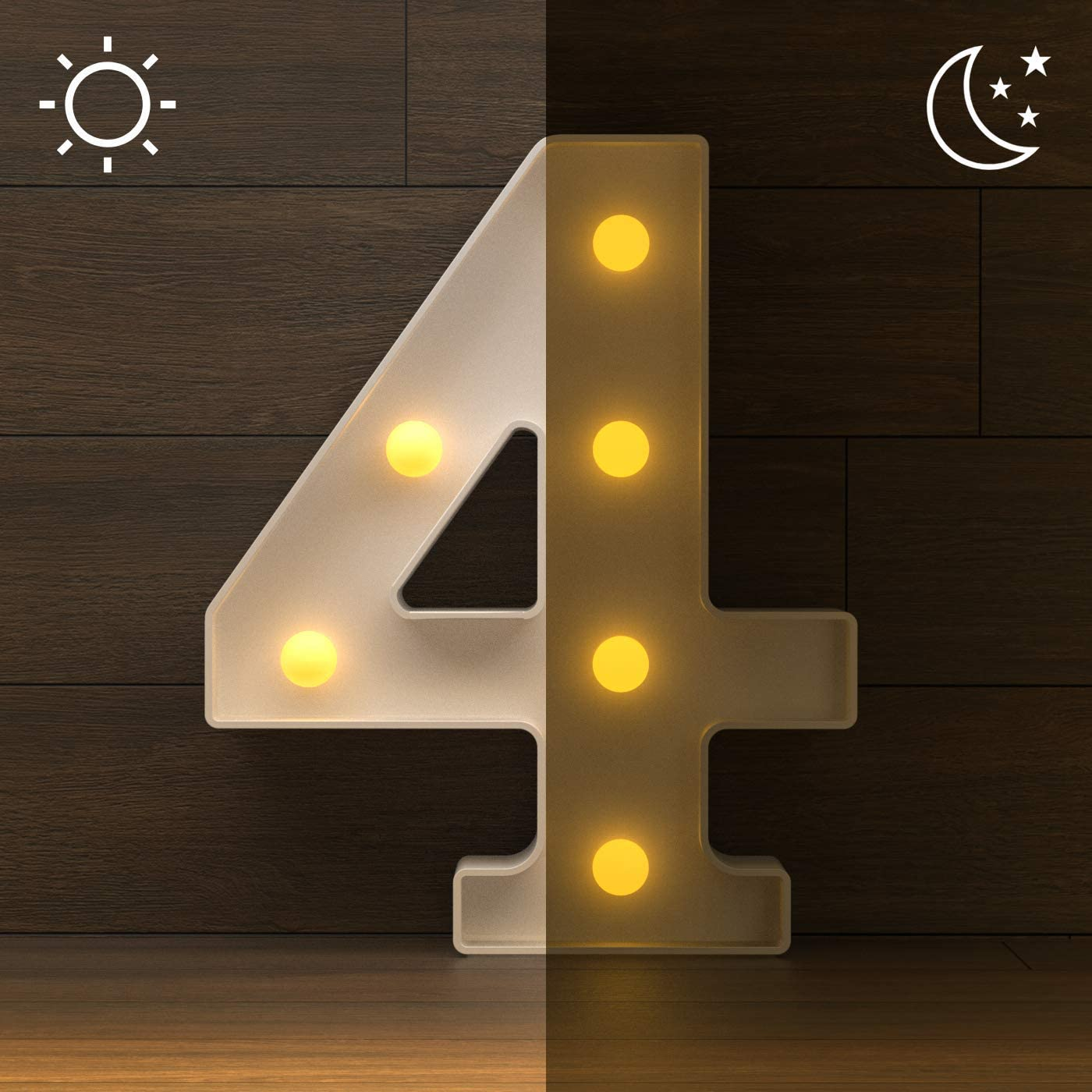 YOUZONE LED Marquee Letters LED Letter Lights Alphabet Light Number 0-9 Up Sign Decoration Letters A Z Symbol /& 4