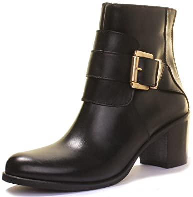 fed1c42f663688 Image Unavailable. Image not available for. Color  Justin Reece Womens Made  in Italy Leather Ankle Mid Heel Formal Boots ...