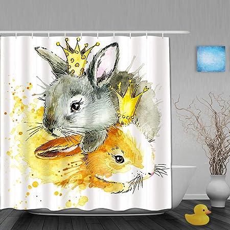 Joseni Rideau De Douche Lapin Drole Aquarelle De Lapins Mignons Decor De Salle De Bains Crochets Inclus 180 210 Amazon Fr Cuisine Maison