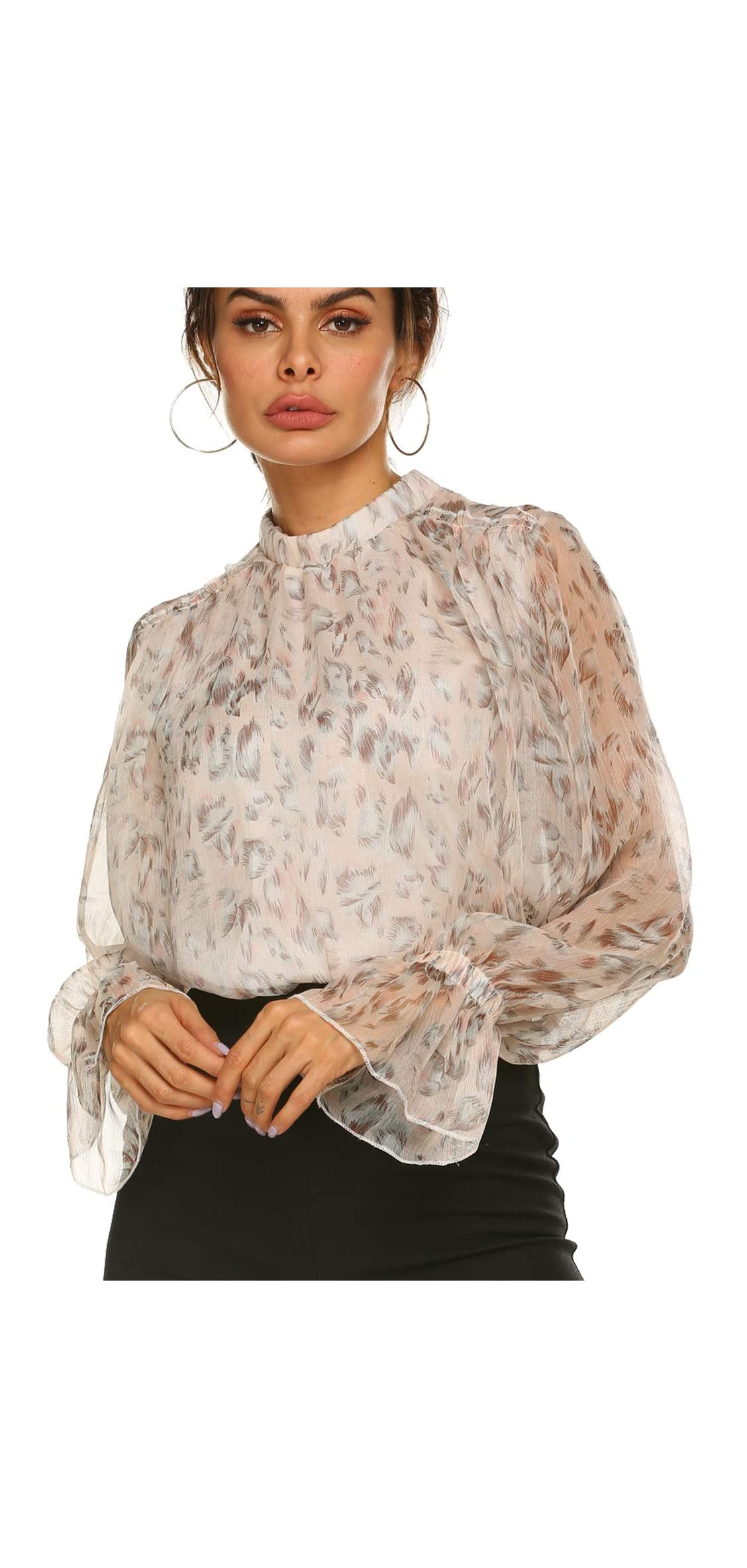 Women's Floral Ruffled Shoulder Chiffon Top Double Layers Blouse