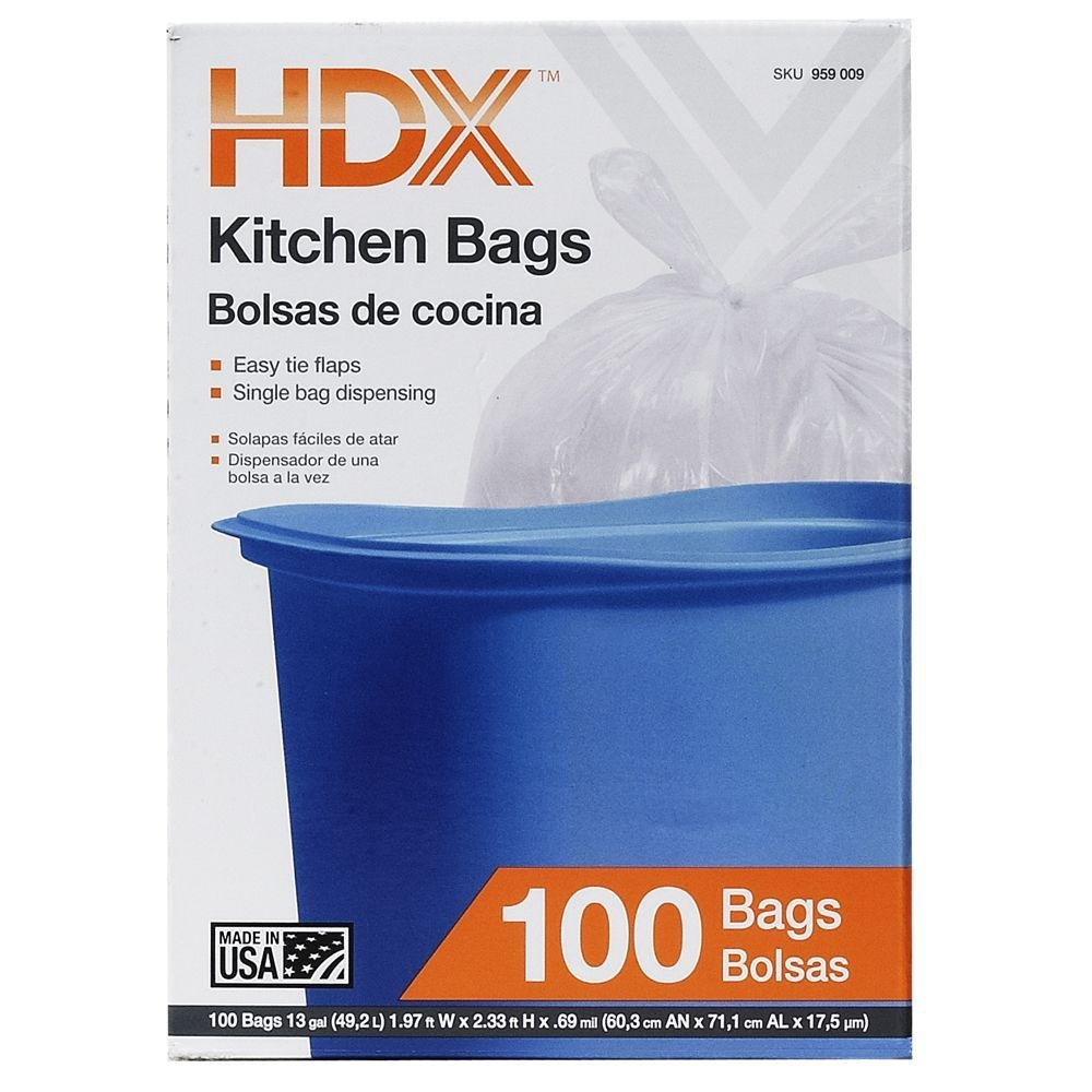 Amazon.com: 13 gal. White Kitchen Trash Bag with Flap (100-Count): Kitchen & Dining