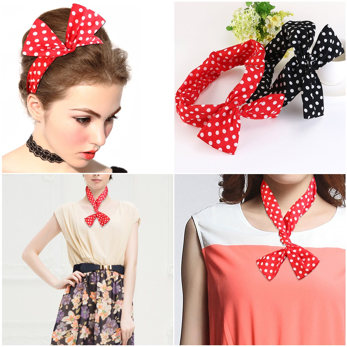 Wire Headband Retro Bowknot Polka Dot Wire Hair Holders for Women and Girls, Pack of 2