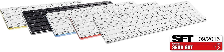 Rapoo E6350 Clavier Bluetooth QWERTZ Allemand Blanc - Claviers (Mini, sans Fil, Bluetooth, Clavier à Membrane, QWERTZ, Blanc) Rouge, Blanc