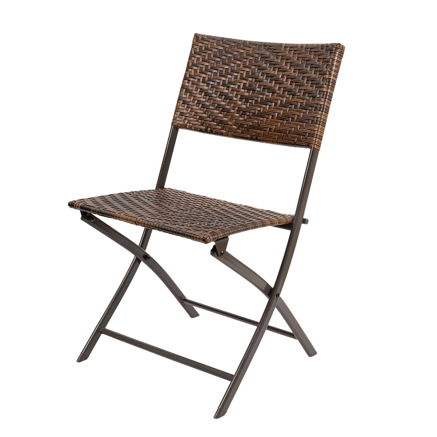 Devoko Patio Folding Deck Sling Back Chair Camping Garden Pool Beach Using Chairs Space Saving Set of 1 (Brown)