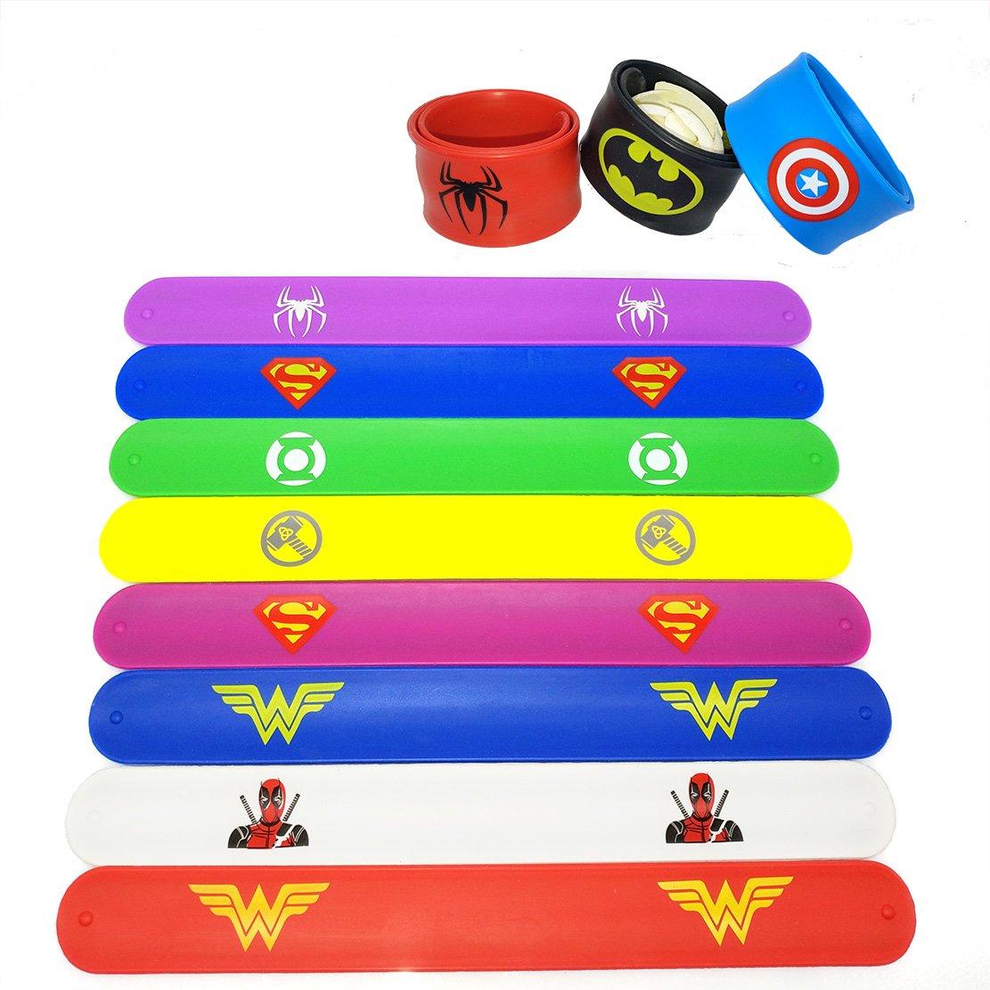 Hizoop 28 pack Superhero Slap Bands Bracelet for Kids Boys /& Girls Birthday