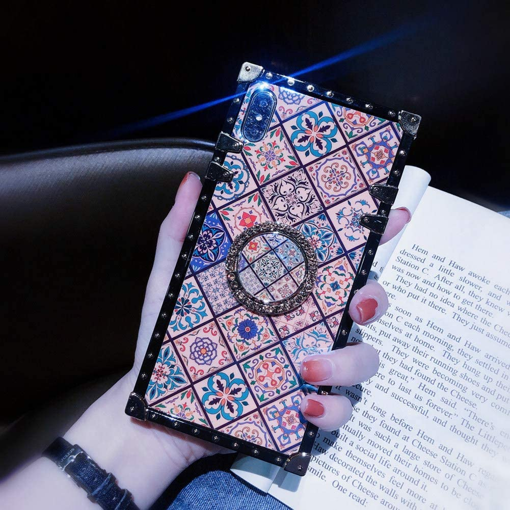 Retro Square Blue Ray Phone Case for iPhone 7 Plus 8 Plus with Holder Ring Indian Hippie Bohemian Psychedelic Peacock Mandala Shockproof Cover (Pattern1, iPhone 7 Plus/8 Plus 5.5'')