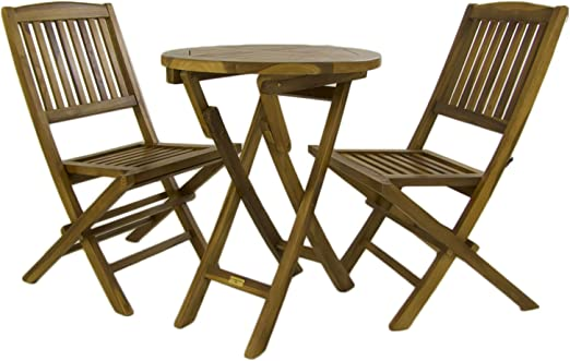 Conjunto de jardín, Mesa Redonda 60 cm y 2 sillas Plegables, Madera Teca Grado A, Tratamiento al Agua aplicado: Amazon.es: Jardín