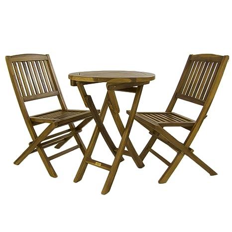 Conjunto de jardín, Mesa Redonda 60 cm y 2 sillas Plegables, Madera Teca Grado A, Tratamiento al Agua aplicado
