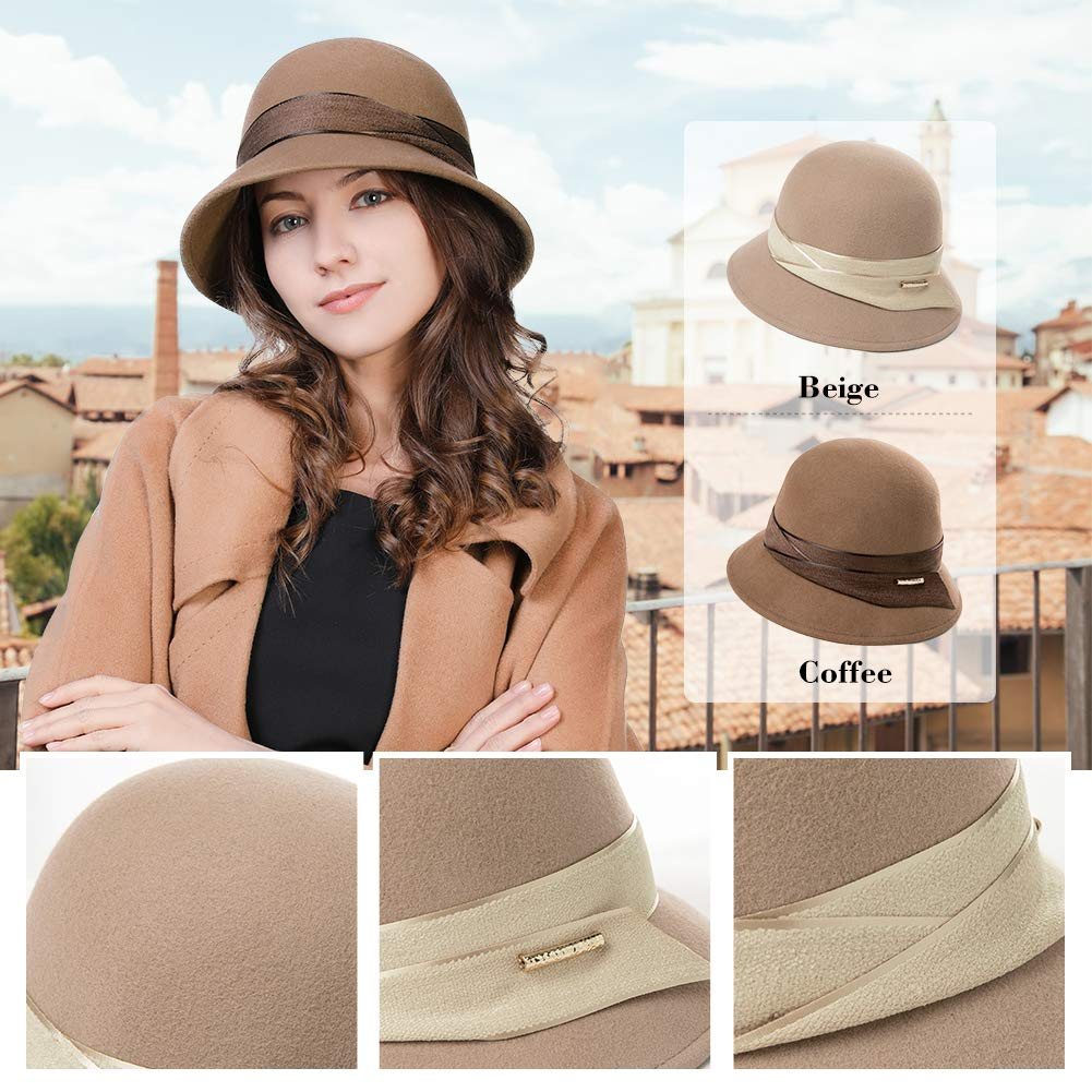 Womens 100% Wool Derby Party Hat 1920s Fedora Round Bucket Fall Felt Winter Bowler Cloche Camel by Fancet (Image #4)