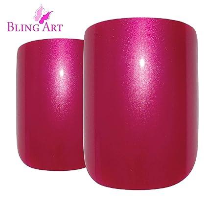 Uñas Postizas Bling Art 24 Rojo Perlado Squoval Medio Falsas puntas acrílicas con pegamento