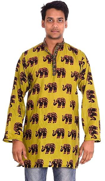 lakkar Haveli - Camisa Casual - Animal Print - Cuello Abuelo - para Hombre: Amazon.es: Ropa y accesorios