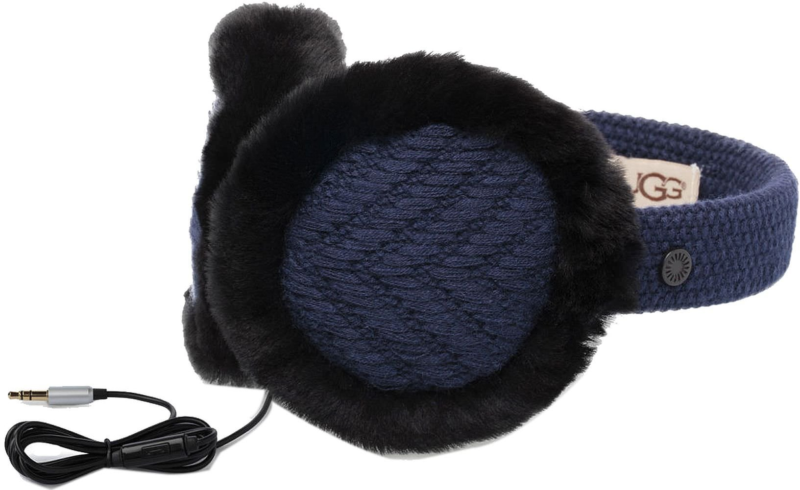 UGG Womens Textured Wired Knit Earmuff in Navy
