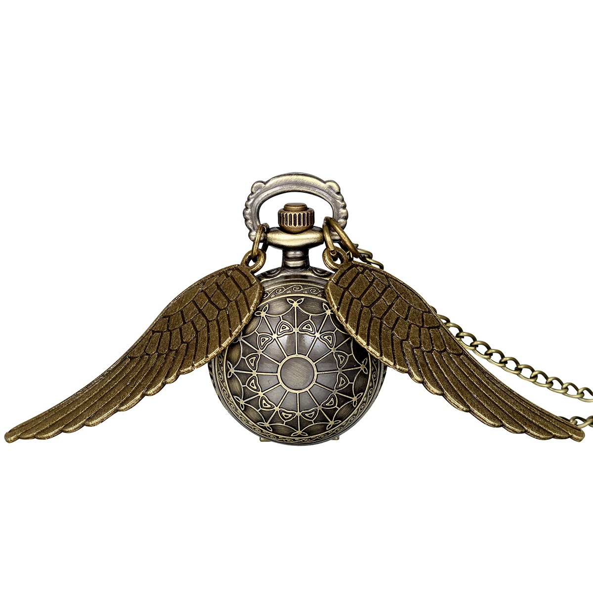 JewelryWe Vintage Retro Angel Wing Legendary Flying Ball Pendant Necklace Steampunk Pocket Watch (with Gift Bag) by Jewelrywe (Image #1)