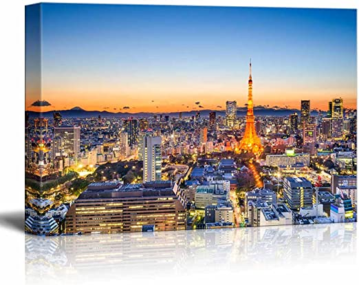 Tokyo CITY  PHOTO PICTURE ON FRAMED CANVAS WALL ART HOME DECORATION LARGE