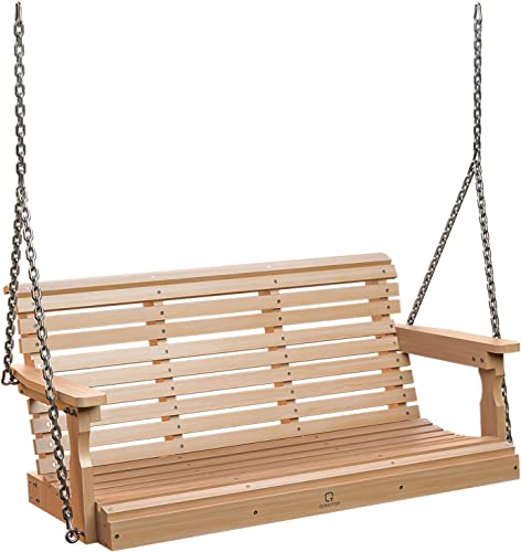 OT QOMOTOP Porch Swing, 2 to 3 Person Outdoor Patio Swings, Heavy Duty 600 LB, Weather Resistant Poly Lumber Swing for Porch, Garden, Backyard, Balcony