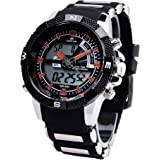 Fashion Montre Bracelet Horloge Cadran Luxury Homme Band Quartz LED dattes Watch Sport Silicone