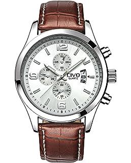 civo mens white decorative sub dials brown leather band wrist civo men s white decorative sub dial movement luxury brown leather band wrist watch men waterproof