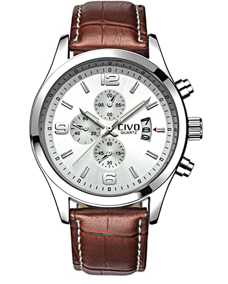 CIVO Relojes Analógico de Cuarzo Para Hombre Sub Dial Decorativo Movimiento  Japonés Lujo Correa de Piel 352cfed39679