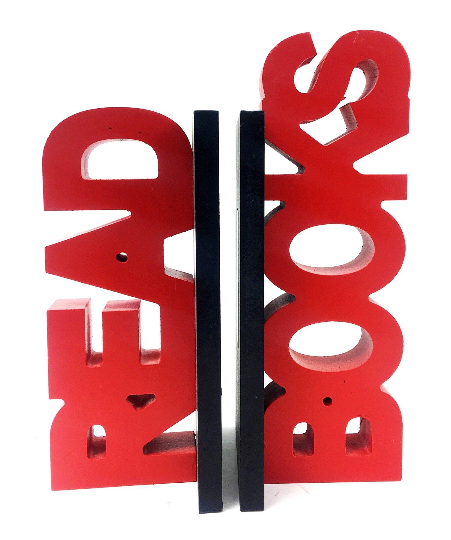 Bellaa 22779 Read Bookends Wood Handmade 10 Inch
