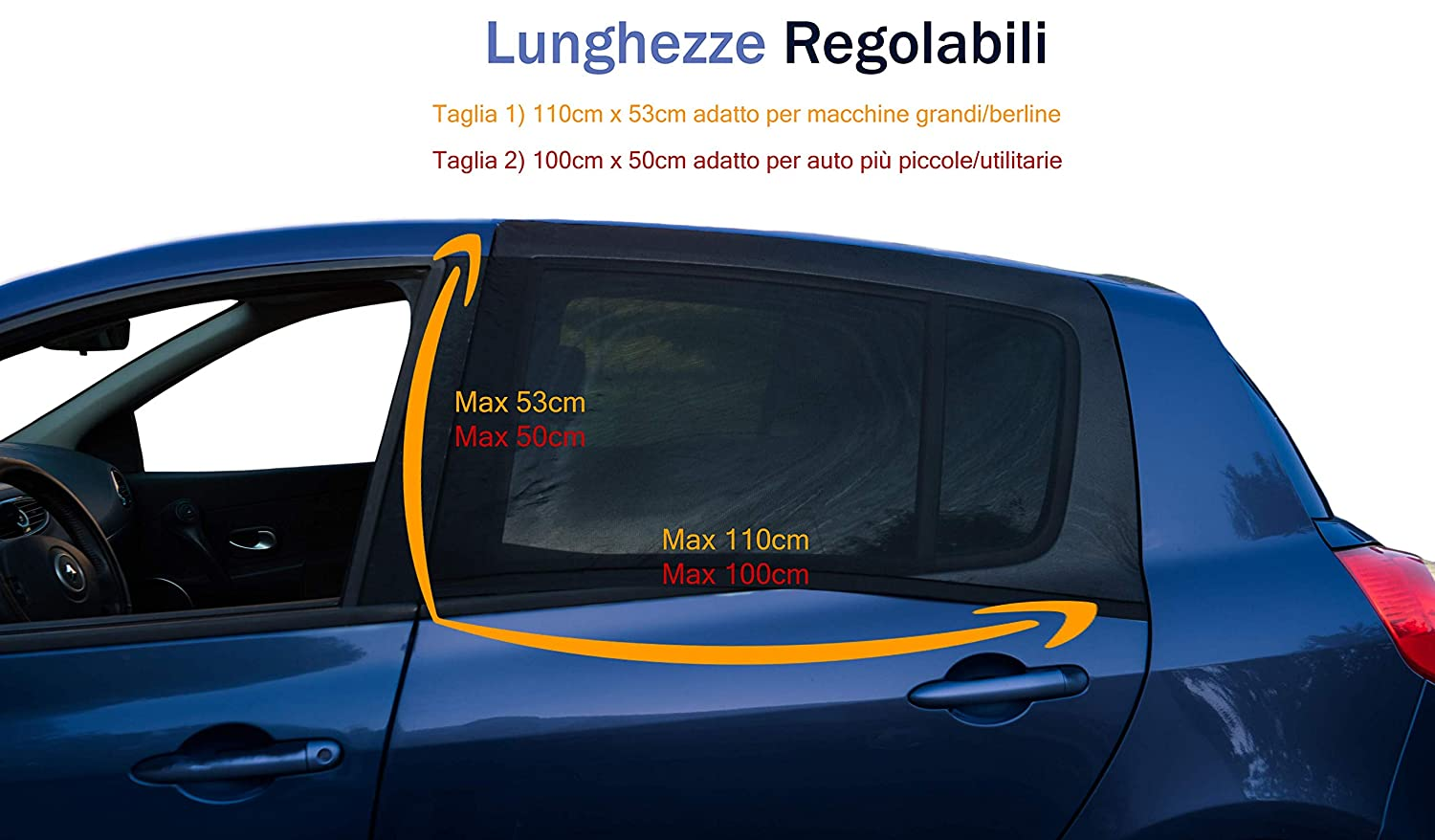 Car Sunshades Side Window for Children and Pets Blocking Over 90/% of UV Rays Anti-Mosquito and Anti-Dust 2 Pieces Black 2 Universal Sizes Premium Quality Easy Installation 110 cm x 53 cm Black