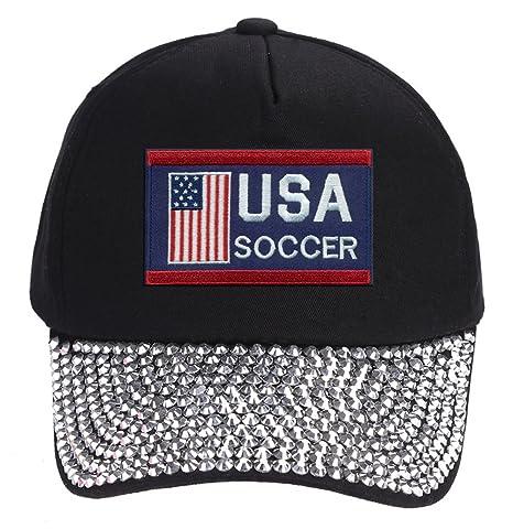 4c613080fb4 Amazon.com  USA Soccer Hat - Black Rhinestone Adjustable Womens Cap -  America Winter Olympics Red White Blue  Sports Collectibles