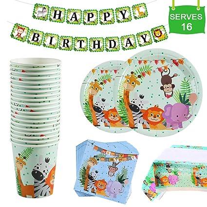 Amazon.com: Suministros de fiesta de cumpleaños de animales ...