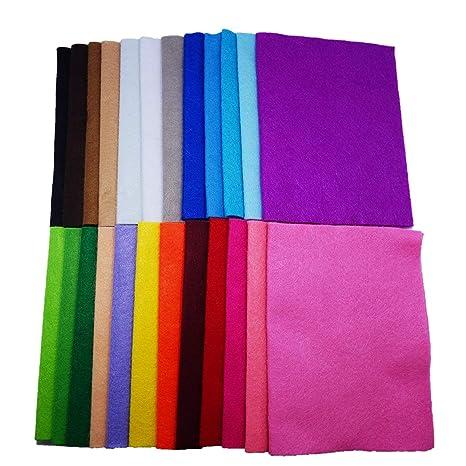 YXJD 24 Colores Diferentes Fieltro y Cojín Manualidades Tela De Costura Bricolaje Tela No Tejido De Fieltro Artificiales 24 Hojas (20cmx30cm)
