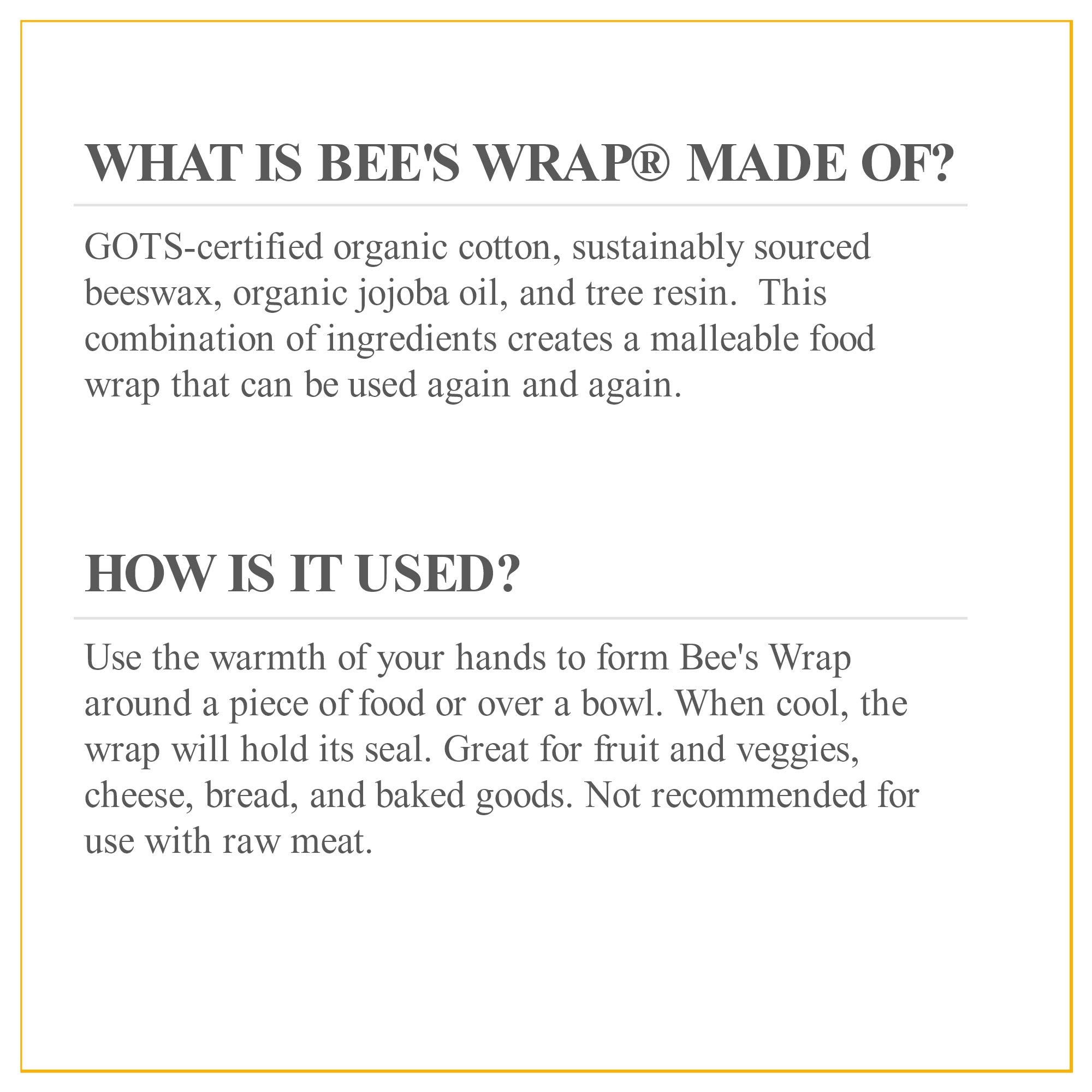 Bee's Wrap Assorted 3 Pack, Eco Friendly Reusable Food Wraps, Sustainable Plastic Free Food Storage, Honeycomb Print - 1 Small, 1 Medium, 1 Large by Bee's Wrap (Image #5)
