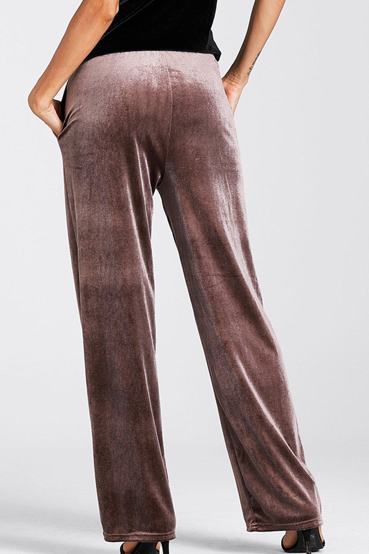 Women Casual Solid High Waist Drawstring Velvet Loose Palazzo Pants:  Amazon.co.uk: Clothing