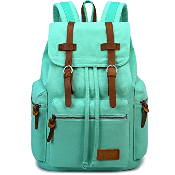 BLUBOONTM Canvas Backpacks Women Rucksacks School Backpack For Teens Girls Bookbags Mint