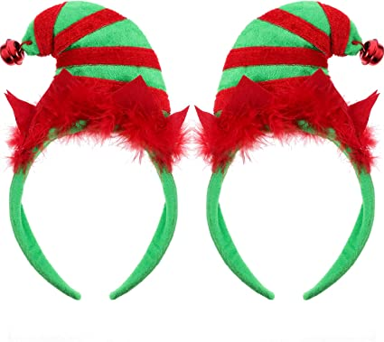 Frcolor Christmas Elf Hat Headband Halloween Holiday Party Headwear for kids adult girls
