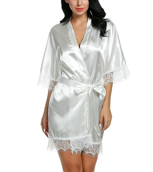 b8476fb957 Liukos Women's Pure Color Kimono Robes Satin Nightwear Short Style  Bridesmaids Sleepwear£¨White XL at Amazon Women's Clothing store: