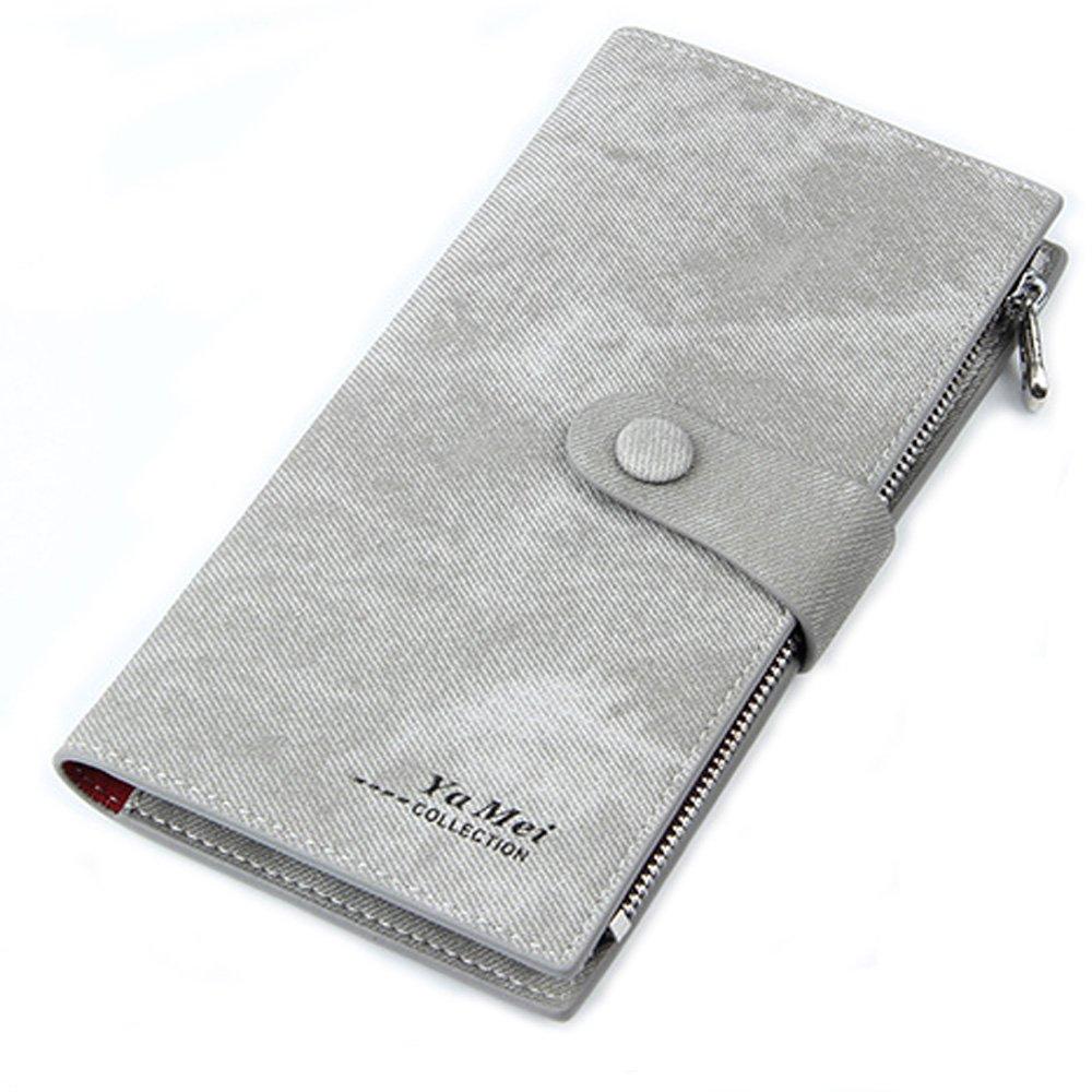 Mfeo Women's Soft Leather Durable Slim Wallets Long Bifold Multi-Card Wallet