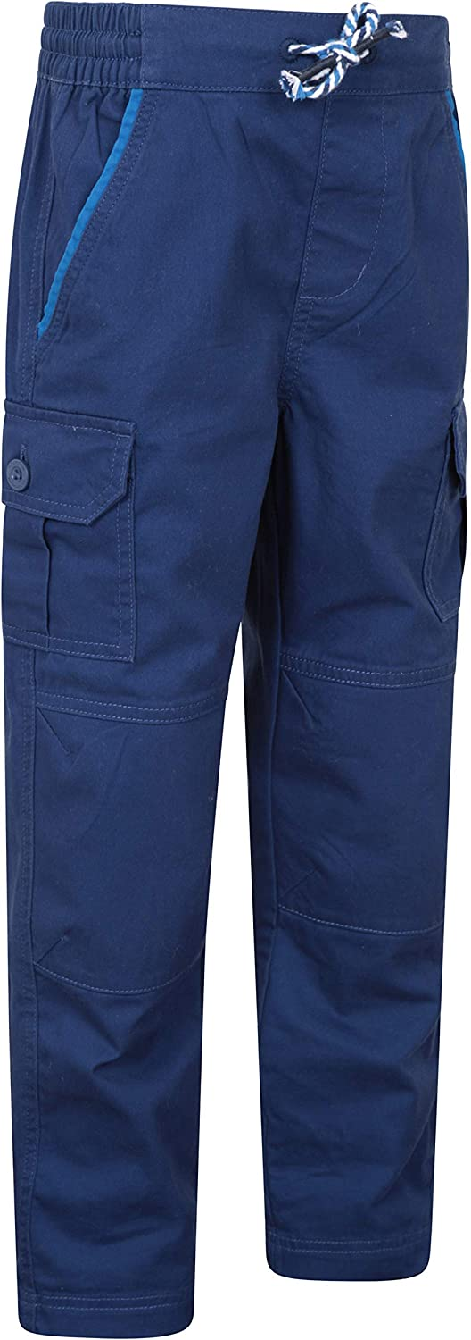 Outdoors Durable Cotton Fabric Childrens Pants Adjustable Waist Girls /& Boys Bottoms Mountain Warehouse Rumble Kids Cargo Trousers Multiple Pockets -Best for Hiking