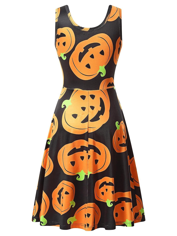a2b23e18f0 Amazon.com  HUHOT Womens Halloween Dresses Casual A-line Flared Party  Costume Midi Dress  Clothing