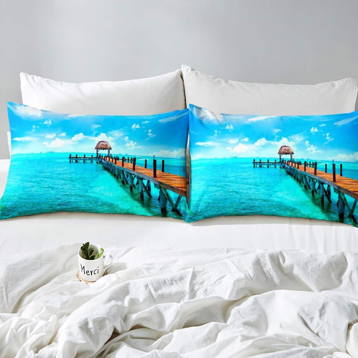 Kids Sea Turtle Bed Sheet Set for Little Boys Girls Child Bedroom Nursery Ocean Theme Animals Bedding Set 3D Reptile Marine Sea Underwater World Fitted Sheet Decor 3 Pcs Full Size