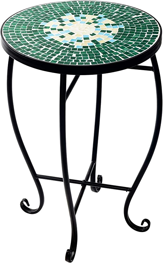 D4P Display4top Tabouret Rond Motif mosaïque Table d\'appoint mosaïque Table  de Jardin Support métallique,52 x 34.8cm (Vert)
