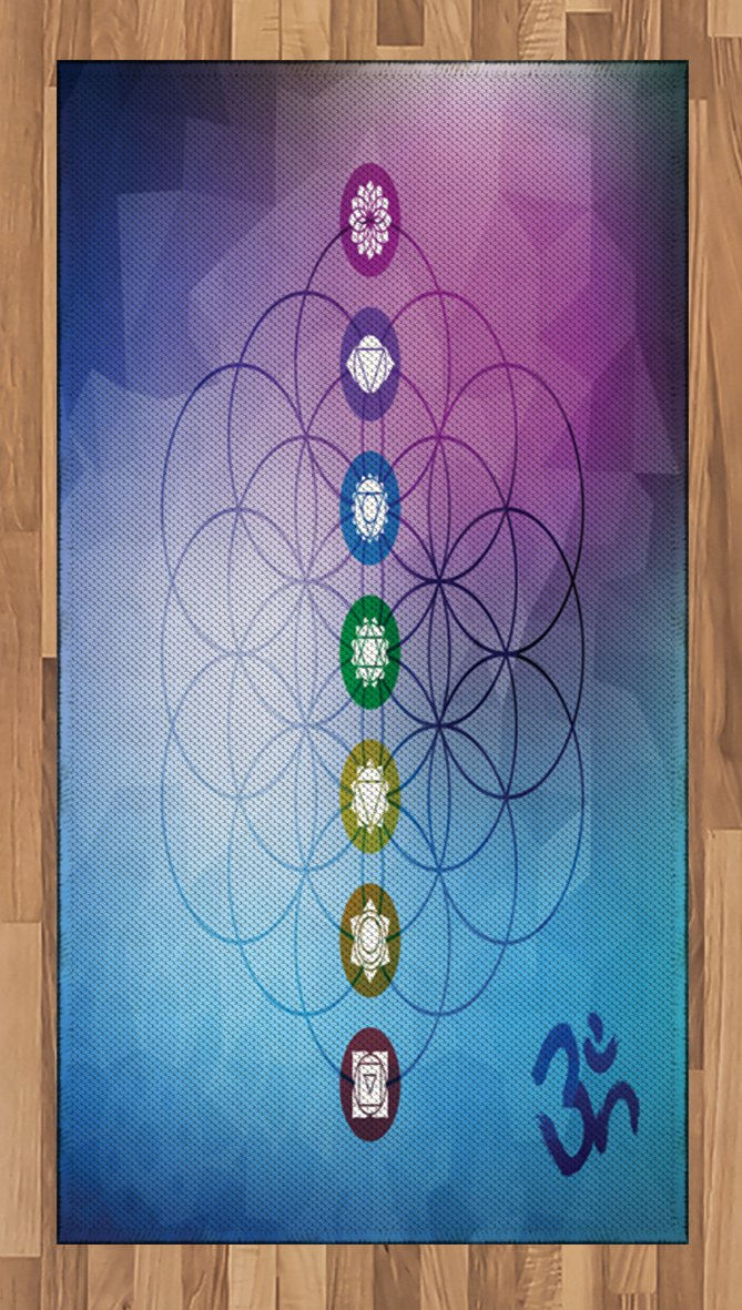 Ambesonne Sacred Geometry Area Rug, Seven Chakras on a Flower of Life Motif with Fractal Ombre Effect Backdrop, Flat Woven Accent Rug for Living Room Bedroom Dining Room, 4 x 6 FT, Multicolor